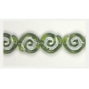 Glass Bead Swirl Olivine/Silver Strung 12x11mm